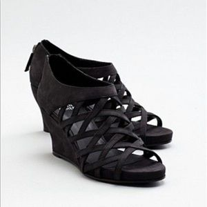 Eileen Fisher Leather Cage Wedge Sandals Black